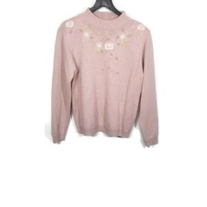 Vintage Alfred Dunner Floral Embroidered Sweater